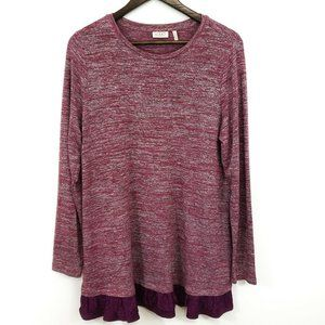 Logo Lori Goldstein Womens Red Purple Tunic Top